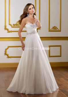 A-line Chiffon beaded Sweetheart zipper back Pleats Wedding Dress - Gopromdres.com