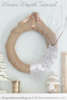 winter wreath with burlap and snowflakes made by thespacebetweenblog.net for Remodelaholic.com