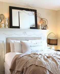 headboard that resembles a fireplace mantle.