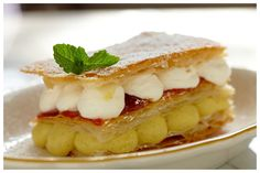 Isn't it so pretty? Tastes just as good! Very light and not too sweet... Mille Feuille Vanilla Pastry Cream, Strawberry Jam @ Prima