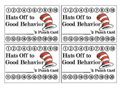 Cat in the Hat Behavior Reward Punch Card   - pinned by @PediaStaff – Please Visit ht.ly/63sNtfor all our pediatric therapy pins