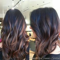 Balayage highlights blending into Ombre'. Hair by Danni Sjoden at Phoebe Therese Salon in Denver, CO