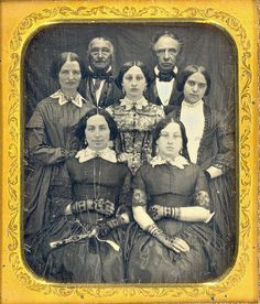 1/6 plate daguerreotype of a family from the early 1850's.