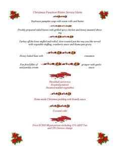 Bayhouse Holiday Banquet Menu 2012