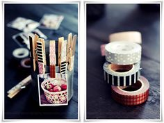 Washi tape clothespins- DIY Washi tape ideas! #washi