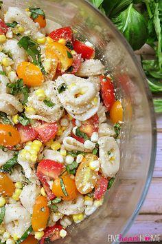 Tortellini Pasta Salad with Tomato, Basil and Fresh Corn