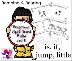 Free Romping  Roaring Preprimer Sight Words Packs Set 5