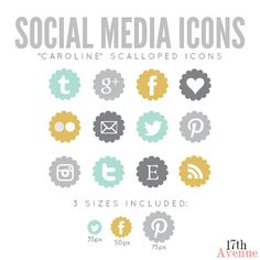 "Social Networking Icons, Scalloped - ""Caroline"", $6"