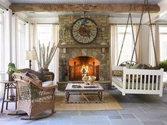 screen porches, living rooms, porch swings, dream, hous, back porches, stone fireplaces, sunroom, screened porches