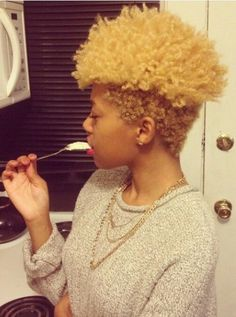 Blonde tapered  TWA - To learn how to grow your hair longer click here - http://blackhair.cc/1jSY2ux