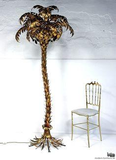 vintage gilded palm tree floor lamp