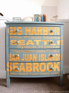 Stenciled Dresser with names of coastal towns and islands in a Seabrook home: http://www.completely-coastal.com/2014/08/house-of-turquoise-seabrook-wa.html