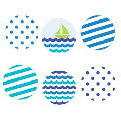 Free Printable Sea Waves Garland | Printable Party Decor #freeprintable #partyprintable