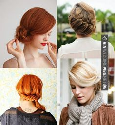 Neato - sweet updos. chignon, diagonal braid, pinned side ponytail, and side bun. via uber chic for cheap. | CHECK OUT MORE GREAT WEDDING HAIRSTYLES AND WEDDING HAIRSTYLE INSPIRATIONS AT WEDDINGPINS.NET | #weddings #hair #weddinghair #weddinghairstyles #hairstyles #events #forweddings #iloveweddings #romance #beauty #planners #fashion #weddingphotos #weddingpictures