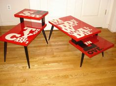 Stencil + Spray Paint = Funky Furniture.