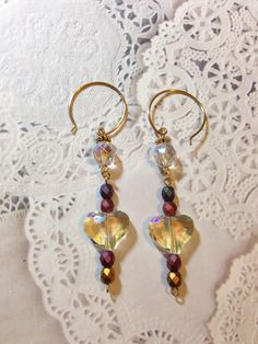 Sunday Earring Challenge. Crystal Heart Earrings made with crystal AB hearts Czech crystals and beads. Design by Irene Hoffman, Heart's Dezire