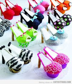 bachelorette parties, birthday parties, birthdays, food, decorated cupcakes, heel, shoe cakes, teen birthday, shower