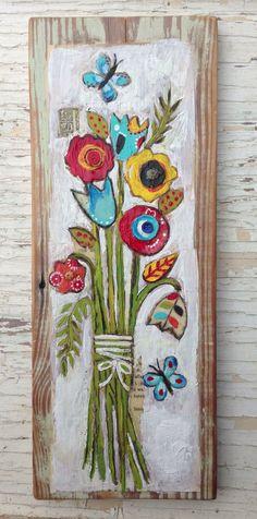 Floral Folk Art Reclaimed Heart Pine  on Etsy, $58.00