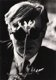 Andy Warhol with flower