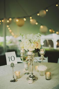 Rent a Candelabra Centerpiece | Keep it Simple!  | Keep it Romantic | Simply Romantic | Photo: arielrenaephoto.com