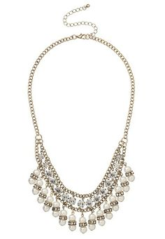 Rhinestone and Faux Pearl Necklace (original price, $18) available at #Maurices