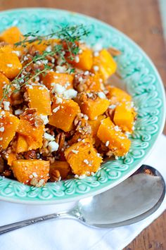 Butternut Squash with Pecans and Blue Cheese butternut squash, blue cheese, thyme, food, thanksgiving recipes, gluten free, pecans, goat cheese, cheese recipes