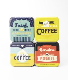 Fossil Coffee Packaging inspired tins