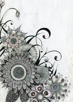 zentangle flowers- This would be the coolest upper thigh tattoo if you took away the curly-q things and just left the flower designs.