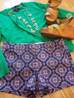 Cute with flats, hills, or wedges. Solid top and printed pants.