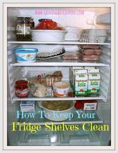 How To Keep Your Fridge Shelves Clean --> http://www.raininghotcoupons.com/fridge-shelves-clean/
