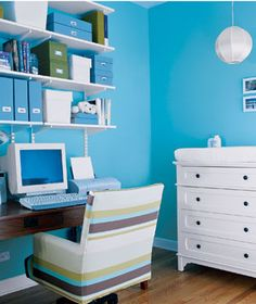 office spaces, color schemes, blue walls, work areas, the office, office colors, shelv, blue home, home offices