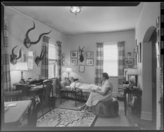 Jack Gould, Untitled (couple in room with mounted horns on walls), 1955 | Harvard Art Museums/ Fogg Museum