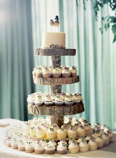 Country or outdoor wedding idea ~ log in the center and cut pieces of tree for layered cupcake holder.