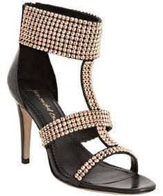 black leather studded sandals