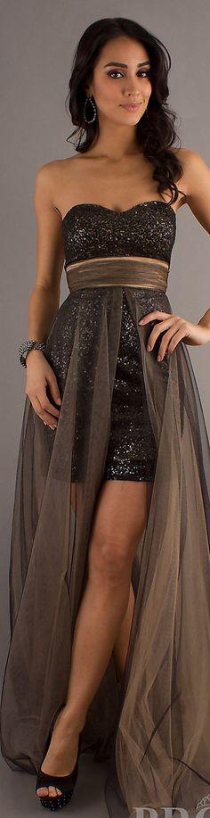 Fashion long formal dress #strapless #glitter #sexy #black #nude