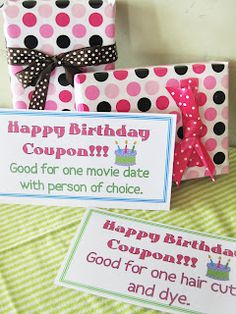 "Birthday Activity ""Birthday Coupons"""
