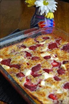 best healthy recipes in the world: Strawberry Cream Cheese Cobbler