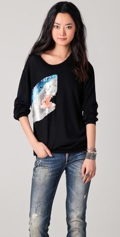 Markus Lupfer Sequined Shark Sweater - StyleSays