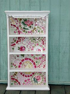 broken china mosaic bookcase