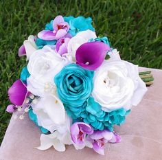 Wedding Teal Turquoise and Purple Natural Touch Roses Silk Flower Bride Bouquet - Peacock Colors