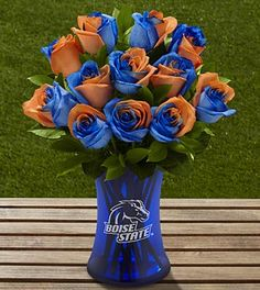 The FTD® Boise State University™ Broncos™ Rose Bouquet - 12 Stems - VASE INCLUDED