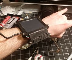 Wearable Cyberpunk Gesture Pad wearabl electron, randoma nerdata, robco pipboy, pipboy person