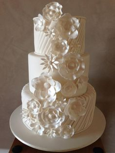 Pleated Fantasy Wedding Cake in All White