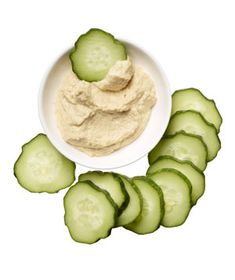 Snack idea: half a cucumber sliced plus 3 tablespoons hummus