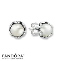 Pandora Earrings Elegance Cultured Pearl Sterling Silver ~~ These are literally my every day earrings..love them!!