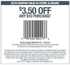 ULTA Printable Coupons: $3.50 off $10 (Printable) - Expires 4/13 printabl coupon