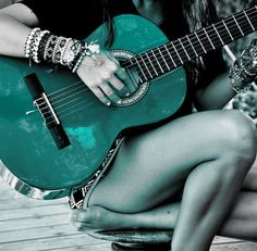 Strummin' on the Teal Guitar ~ Love it!