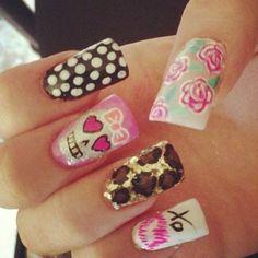 skulls, leopard, dots, flowers, xo! #nails