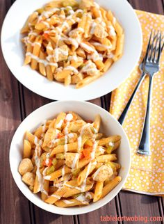 Buffalo Ranch Chicken Pasta » Table for Two
