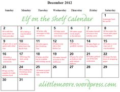Great idea! No more wondering last minute what to do with the Elf on the Shelf each morning. This blogger makes up a calendar of cute ideas you can use!